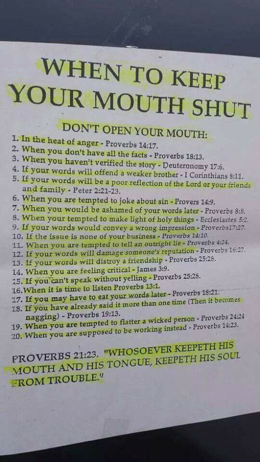 WHEN TO KEEP YOUR MOUTH SHUT